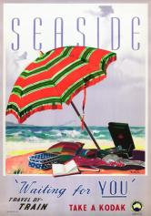 Seaside – 'Waiting for you'. Vintage Australian travel poster by James Northfield, beach in Australia